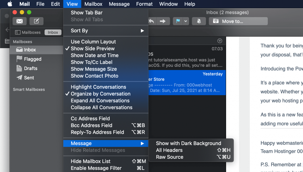 iCloud, highlighting View > Message.