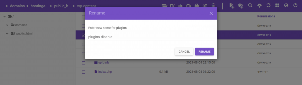 Rename plugins folder.