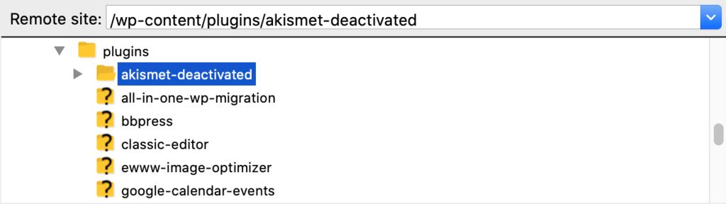"Renaming the plugins folder to ""akismet-deactivated"""