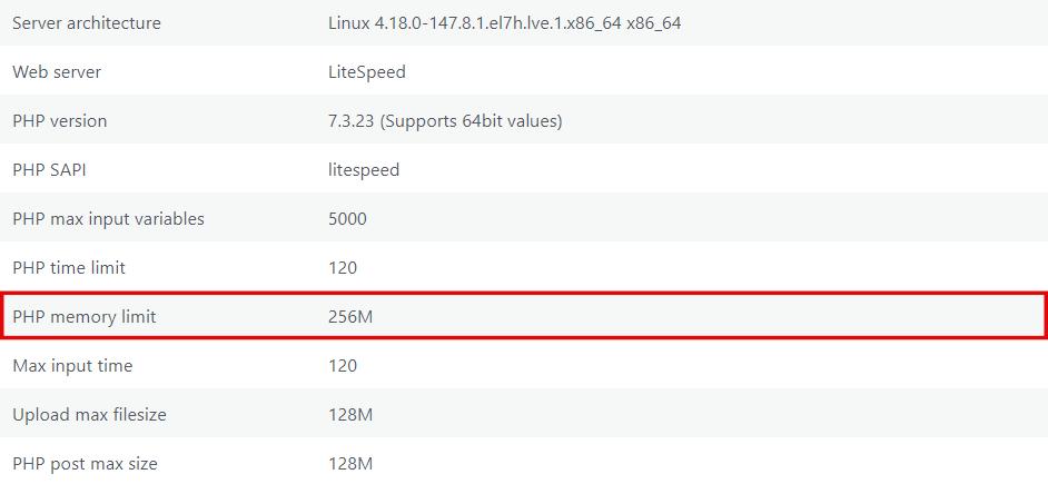 PHP memory limit - 256M.