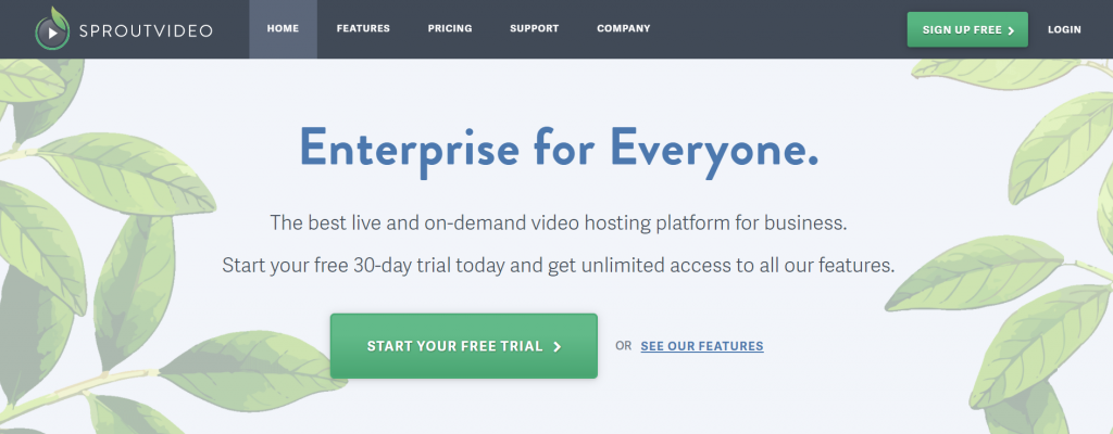 SproutVideo homepage