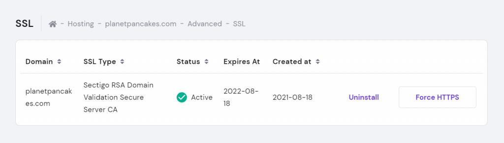 Screenshot of successfully installing the Comodo PositiveSSL certificate,