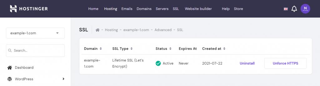 Screenshot of successfully installing the SSL certificate.