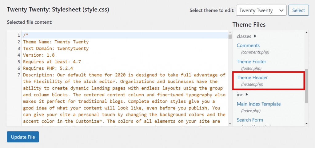 The Theme Header (header.php) file.