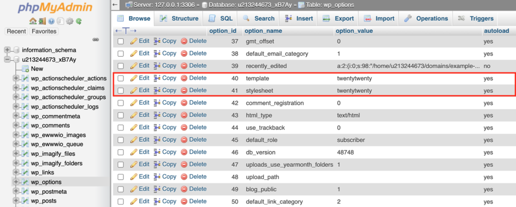 Renaming the current theme name on phpMyAdmin