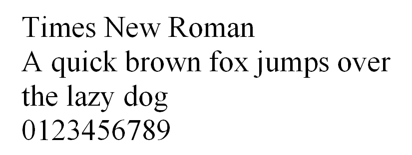 The letters and numbers of Times New Roman.
