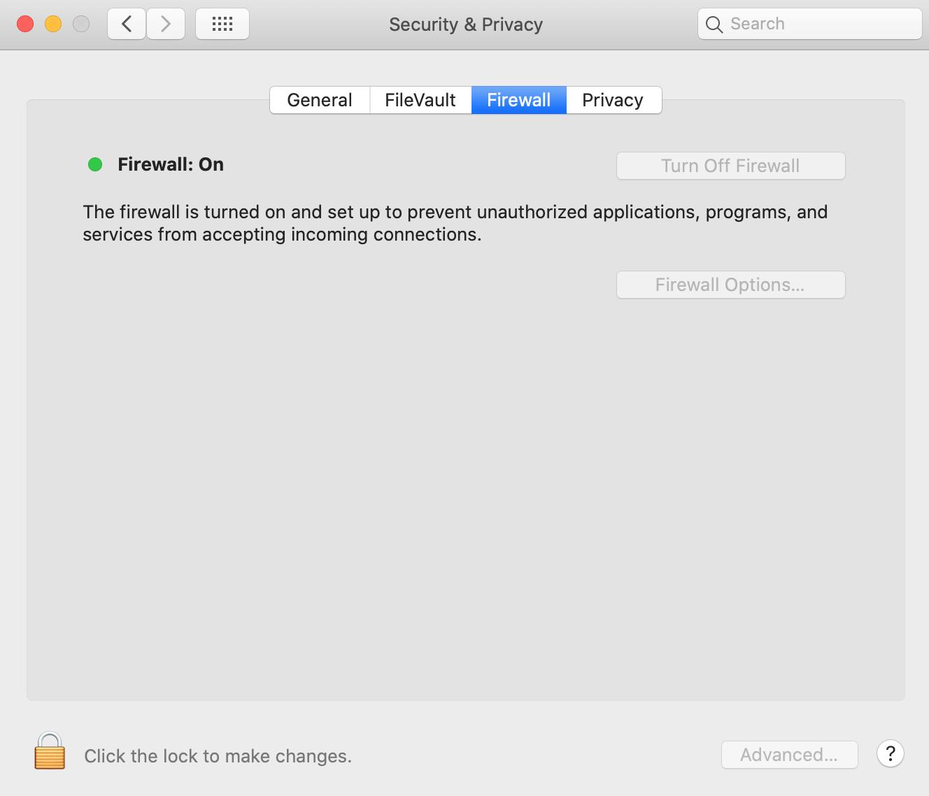 Turning off macOS firewall