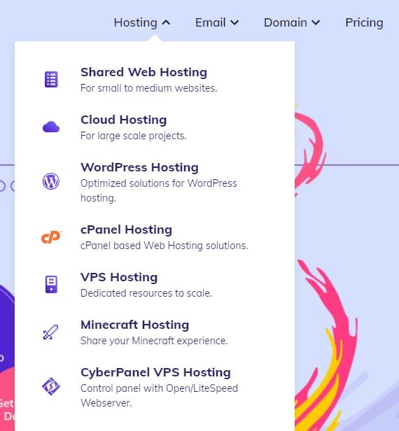 Types of hosting at Hostinger,