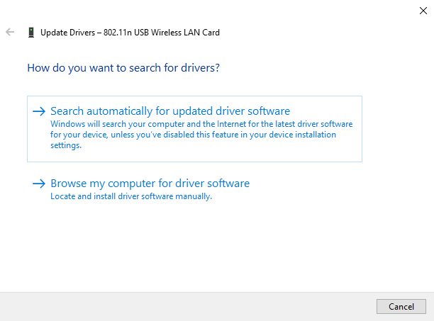 Selecting Search automatically for updated driver software