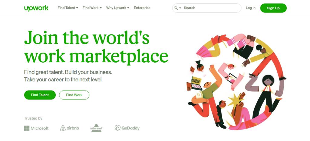 Upwork's homepage.