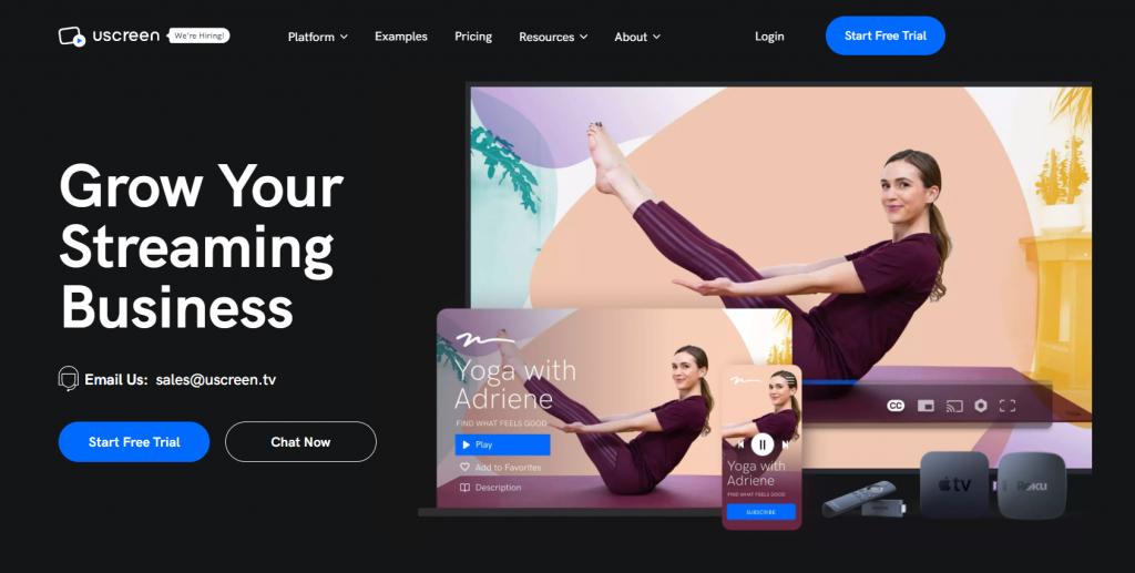 Uscreen homepage