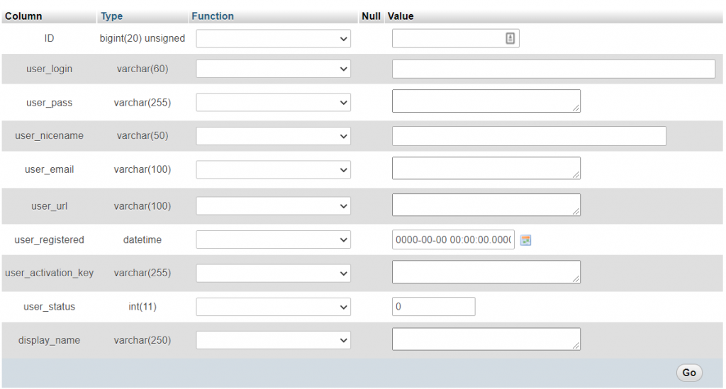 Filling out the fields to restore WordPress administrator privileges.