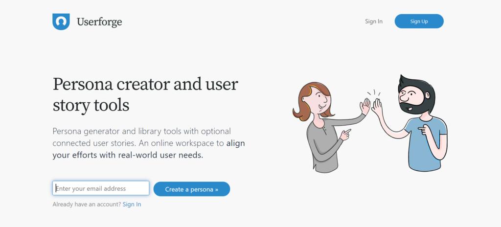 Userforge homepage.