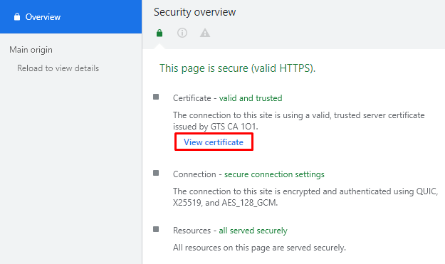 Screenshot from the security overview showing where to find the View certificate option.