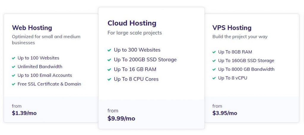 Hostinger web hosting plans and pricing.