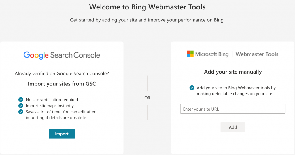 Welcome to Bing Webmaster Tools window where we click on the import button,