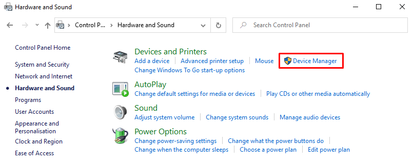 Selecting Device Manager on Windows Control Panel