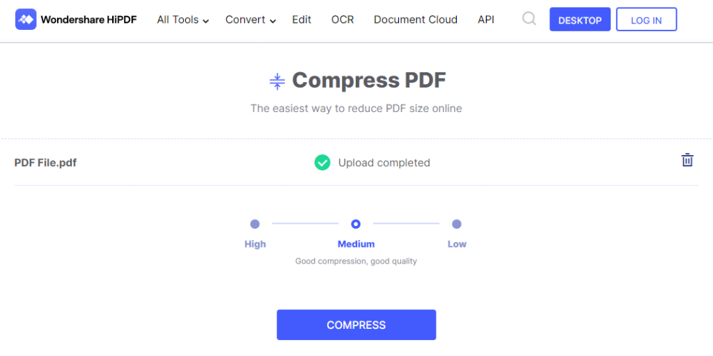 Wondershare HiPDF PDF compressor