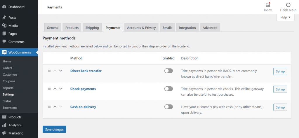 Selecting payment methods in WooCommerce for the online boutique