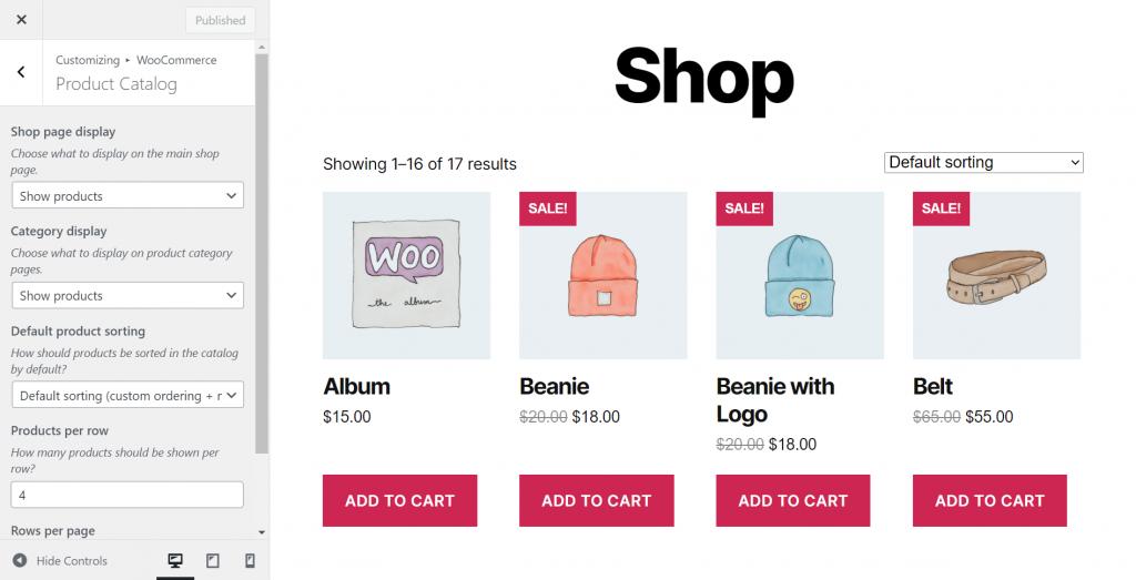 Customizing product catalogue