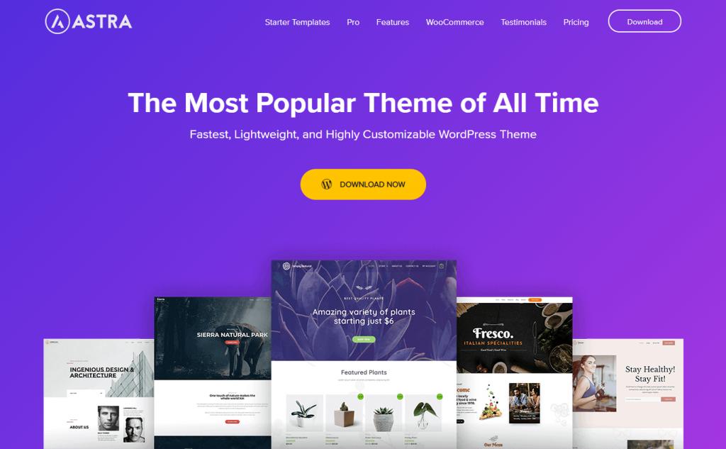 The homepage of Astra, a freemium WordPress theme.