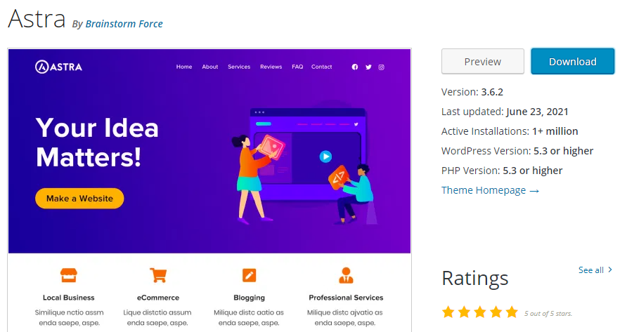 Astra's page on the WordPress theme directory.