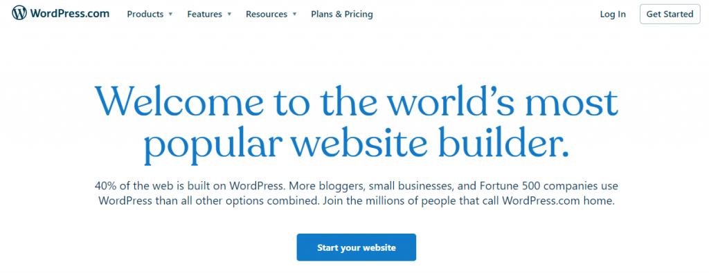 The homepage of WordPress.com.