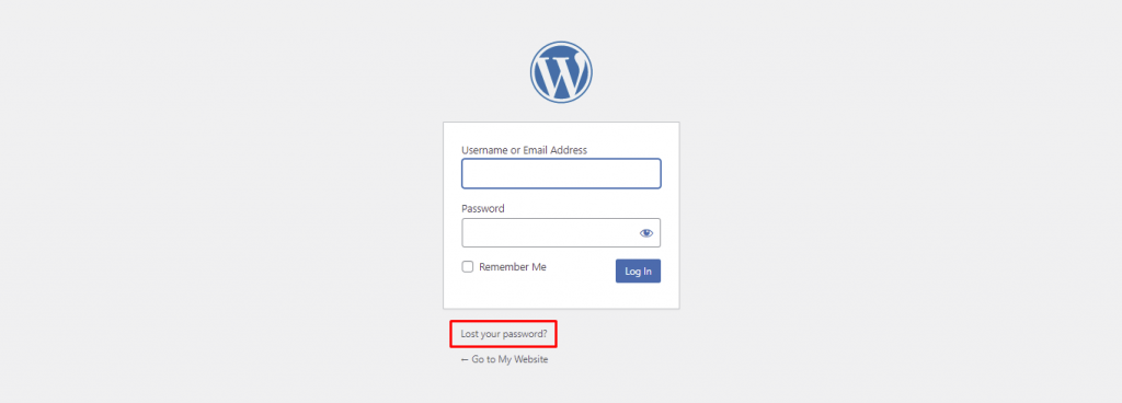 WordPress login page, highlighting the Forgot Password feature