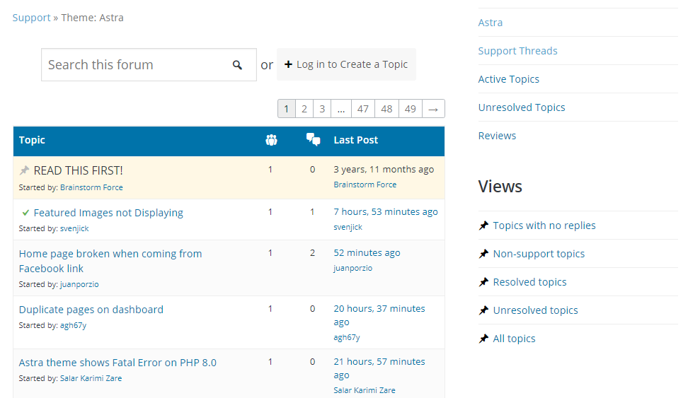 WordPress support forums.