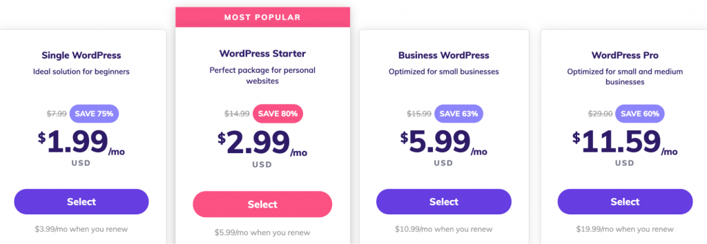 A selection of WordPress hosting plans available at Hostinger.