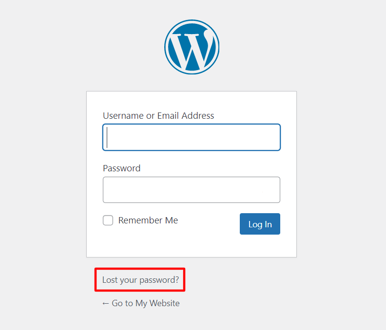 Clicking Lost your password? when logging in to your WordPress account.