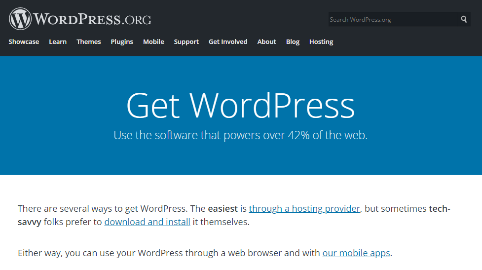 The download page of WordPress.org.