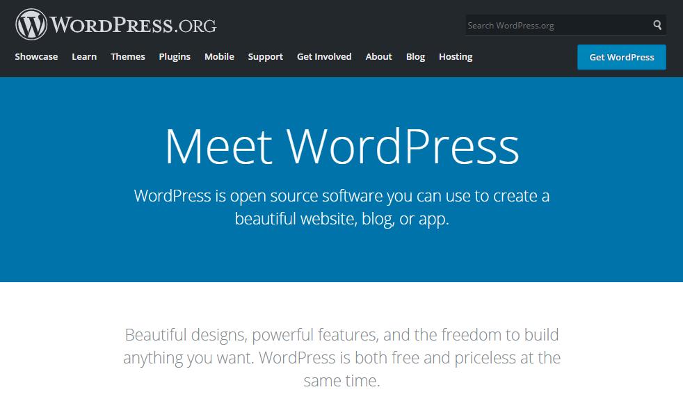 The homepage of WordPress.org.