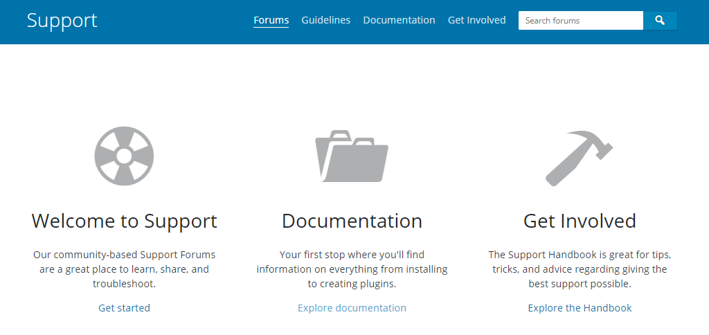 The WordPress support page.