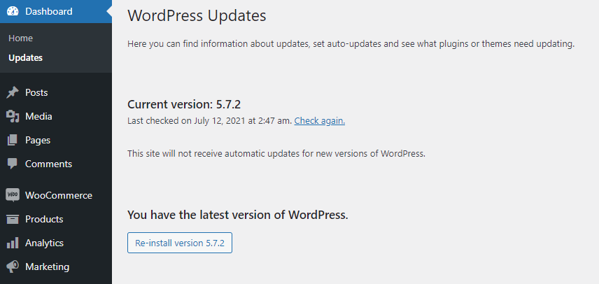 Checking for updates on the WordPress dashboard.
