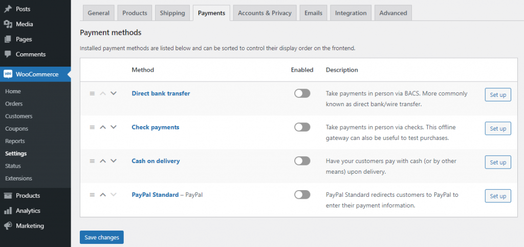 Configuring WooCommerce from the WordPress dashboard.