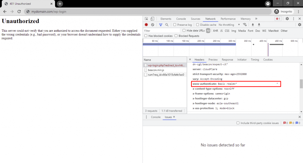 WWW-Authenticate entry under the Response Headers section