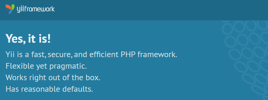 Yii - fast, secure, and efficient PHP framework. Flexible yet pragmatic.
