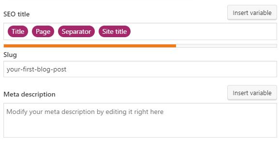 SEO title, post slug, and meta description configuration on the Yoast SEO plugin.