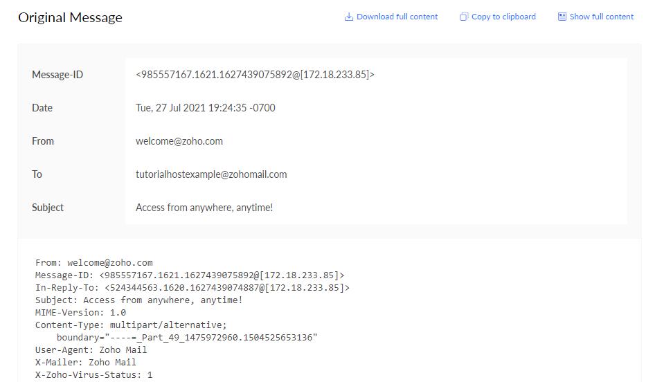 Zoho Mail header,
