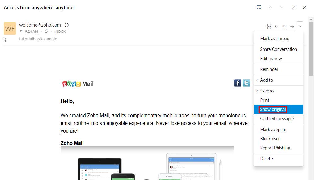 Zoho Mail, highlighting Show original.