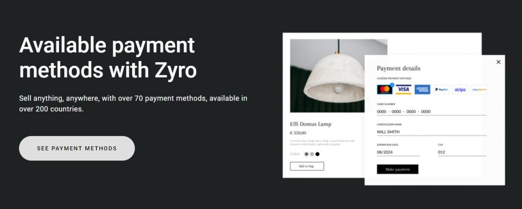 Available payment methods with Zyro