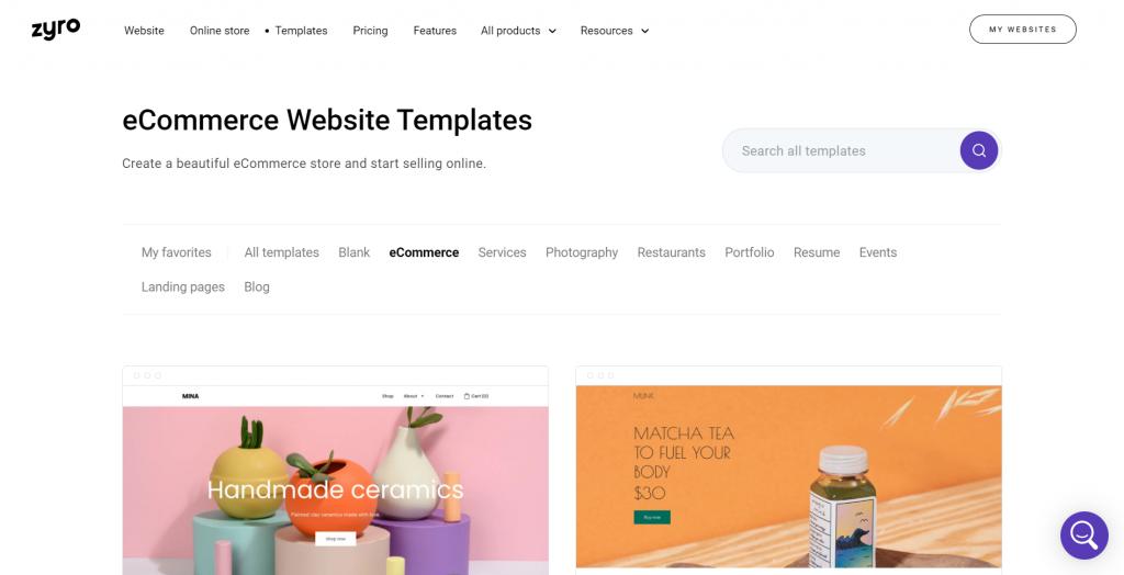 Zyro eCommerce website templates