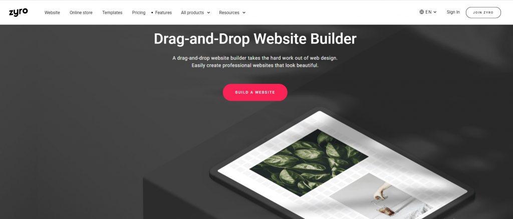 Zyro drag-and-drop website builder homepage.