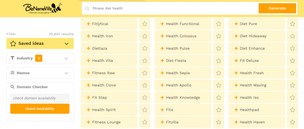 BizNameWiz's suggestions for a lifestyle blog name after typing in fitness diet health.