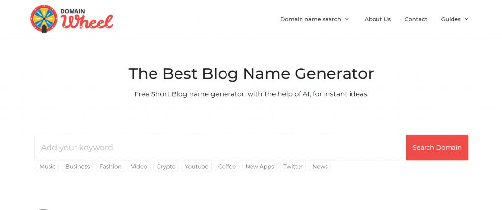 Domain Wheel - The Best Blog Name Generator.