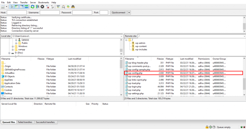 The wp-config.php file in the /public_html directory on FileZilla.