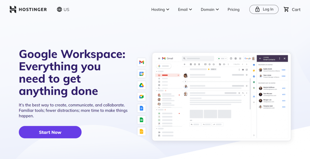 Google Workspace at Hostinger: Everything you need to get anything done.