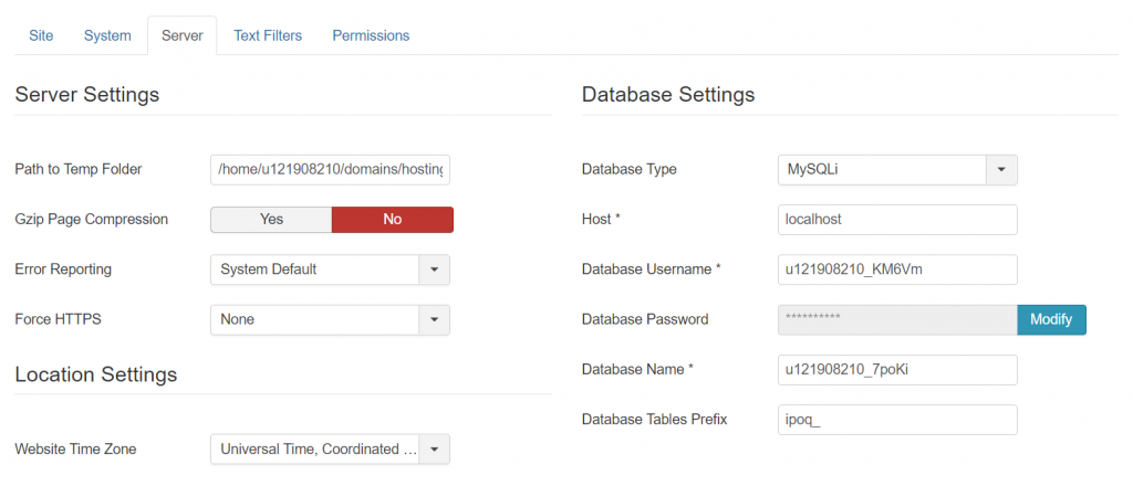 Joomla database details.