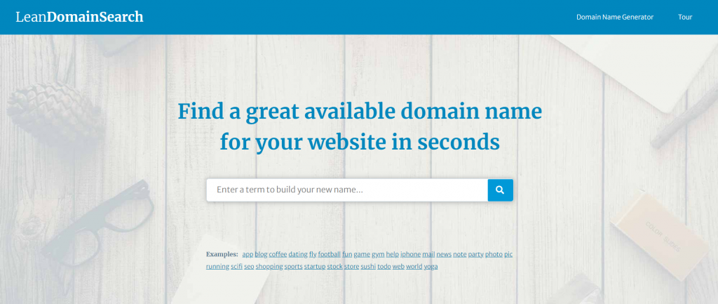 Lean Domain Search - find a great available domain for your website in seconds.